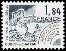 """FRANCE PREOBLITERE TIMBRE STAMP N°172 """"MONUMENTS, COUCY-LE-CHATEAU"""" NEUF xx TTB"""