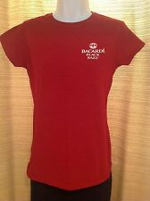 Womens BACARDI Rum BLACK RAZZ Logo Size Medium RED Promo Bar T-Shirt TEE