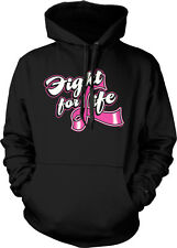 Fight For Life Pink Ribbon Breast Cancer Cure Awareness Cause Hoodie Sweatshirt