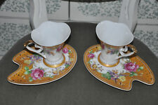 2 x Porcelain Tea Cup and Saucer by ArtiM Collection England Arti M