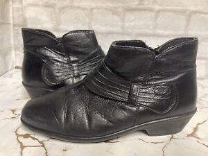 "Pavers Black Ankle Boots UK 6 EU 39 Zip Fastening 1.5"" Small Heel"
