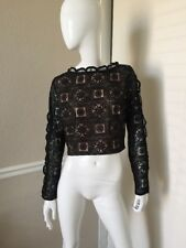 Endless Rose NEW! Black Lace Long Sleeve Cropped Rear Zipper Top Sz L NWOT!