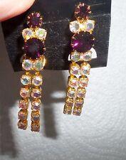Czech Amethyst Purple & Aurora Borealis Crystal Gold P. double Dangle Superb