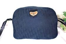 Vintage CHRISTIAN DIOR Navy Blue Canvas Camera Shoulder Bag Monograms Flawed 008d2298885a3
