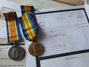 WW1 British War & Victory Medal to Dvr Bush, 282nd R.F.A Territorial, Casualty