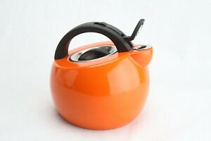 Rachael Ray 2 Qt Whistling Tea Kettle Orange Enamel Stainless Steel