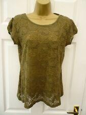 NEXT Ladies Size 12 14 Khaki Green Casual Boho Floral Lace Sheer T Shirt Top