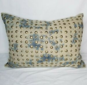 Cloud Nine Decorative Throw Pillow Blue Tie Dye with Gold Studs Boho Bohemian
