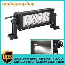 2X 8Inch 36w Double Row S/FCombo Beam LED Light Bar Offroad Ford 4WD Truck Screw