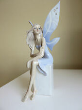 Fairy Sitting on White Block Resin Figurine Gift  Blue white scrolled wings new