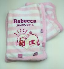 Personalised Pink Little Princess Baby Blanket. Great Baby Gift.