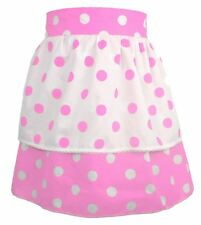 Ladies 1950's Pink & White Polka dot Pinafore With Pink Polkadot Apron One Size