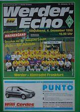 Program Ec 1993/94 Werder Bremen - Rsc Anderlecht