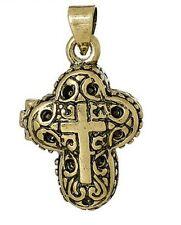 Messing Amulett Medaillon Anhänger Pillen Dose Kreuz Cross Magnetverschluß 133.4