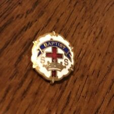 Baptist SS Sunday School Lapel Pin Cross and Crown Enamel