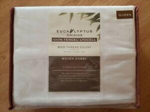 Eucalyptus Origins 600 TC Lyocell Woven Dobby QUEEN SUZE  Sheet Set white plaid