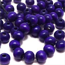 Lot de 100 perles rondes en Bois 8mm Indigo