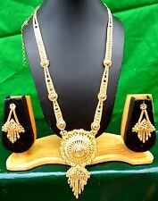 "Indian 22k Gold Plated 11"" Long Wedding Bridal Necklace Earrings Tikka Set a"