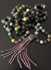 Fashion Long Knot Bloodstone Green Agate Crystal Tassel Necklace Handmade
