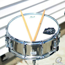 """Pearl 14"""" Snare Drum and Stand with Case & Key 10 Lugs New Skin Sticks Inclued"""