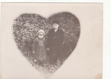 1930s RARE Brother & sisiter boy & girl fashion in heart Russian Soviet photo
