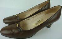 Salvatore Ferragamo Women 8.5 AAA Brown Leather Heels Pumps Round Toe Classic