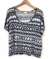 Witchery Linen T-Shirt Size M-L Black White Print Short Sleeve Tee Top Womens