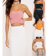 Womens Cut Out Slinky Bandeau Party Bralet Bustier Crop Ladies Top UK Size 6-14