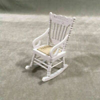 White Wood Rocking Chair For 1:12 Doll House Living Room Tool. Decor D5G5 M1U7