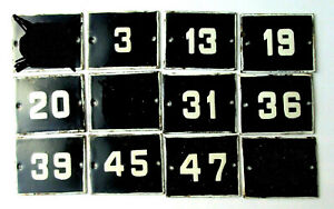 OLD ENAMEL PORCELAIN TIN SIGN PLATE NUMBERS Cobalt Blue 19,20,31,36,39 and other