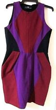 CUE size 10 stretch ponte colour block DRESS with deep pockets near new