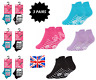 3 Pack Ladies Girls Trainer Ankle Socks Cotton Rich Sports Non Slip Gripper