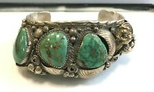 Native American NAVAJO Sterling Silver Turquoise Mens 8 Inches Cuff Bracelet