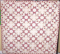 STARS AND VINES  ANTIQUE  APPLIQUE QUILT  1850 WITH HISTORY PRE CIVIL WAR