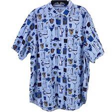 Tommy Bahama Well Stocked Tiki Bar Drink Print Blue Camp Shirt Big Mens 2XLB