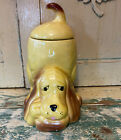Vintage Cutest Pottery Thinking Puppy Dog Cookie jar/Retro Canisters 1970