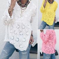 ZANZEA Womens Lace Crochet Long Sleeve Tops Casual Loose Blouse Shirts Plus Size