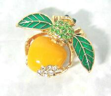 NEW Joan Rivers Yellow APPLE BEE PIN Bug Brooch Pave Crystal Rhinestones Enamel!