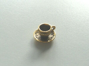 Gold plated antiqued pewter cup and saucer charm pendant in gift box