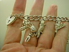 & 9 Charms, Padlock Safety Chain Vintage 1979 Hm Sterling Silver Charm Bracelet