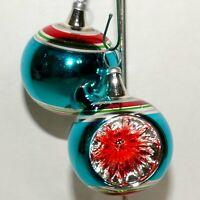 Christmas Ornament KURT ADLER Glass COLOMBIA KSA Ball INDENT Feather Tree #07