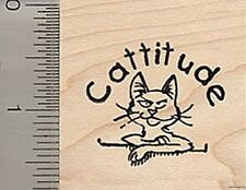 Cattitude Cat Rubber Stamp D7919 Wood Mounted Attitude