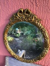 Antique French Wood Gold Round Wall Mirror