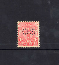 AUSTRALIA 1907 STATE N.S.W 1d RED SHIELD OS perf 12X11 1/2 WATER MARK  MUH