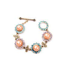 NEW Stylish J CREW Orange Pearl Purple Blue Gold Rhinestone Bracelet
