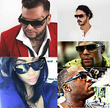 Quality Thick Black Gold Flat Top Frame Celebrity Men's Hip Hop Sunglasses