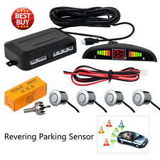 [Silver] Reversing Parking Radar Sensor Car Vehicle 4 Sensors LED Alarm Buzzer