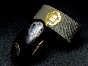Japan antique Edo era Daimyo Koshirae Family Crest shakudo wood Fuchi Kashira
