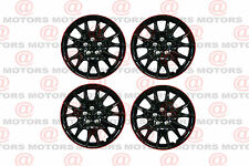 "Full Set Of 4 13"" Hub Caps Wheel Covers High Quality Chroming Black Red Lip New"