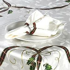 LENOX Christmas Holiday Nouveau 60 x 104 Jacquard Tablecloth Tartan Plaid Holly